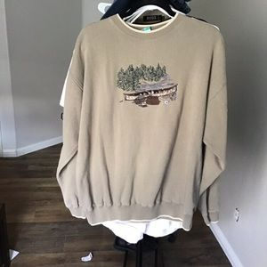 Rare vintage embroidered camping crew neck sweater